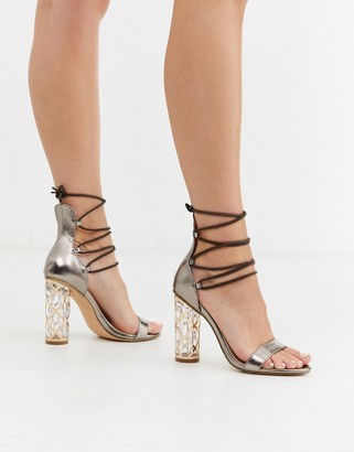 Glamorous lace up heels with metal heel