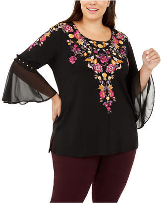 JM Collection Plus Size Floral Bell-Sleeve Top