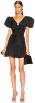 Brognano BROGNANO Puff Sleeve Ruched Mini Dress in Black   FWRD