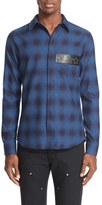 Givenchy Men's Extra Trim Fit Star Applique Plaid Shirt