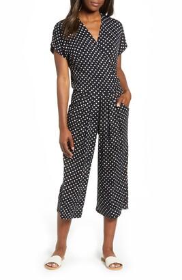 Loveappella Wrap Wide Leg Crop Jumpsuit