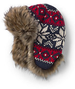 Classic Boys Chunky Knit Trapper Hat-Navy/Red Fairisle