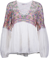 Chelsea Flower Rowan embroidered cotton-gauze top