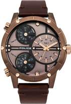 Police Gents brown leather strap watch