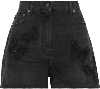 Valentino Bead-embellished Embroidered Denim Shorts
