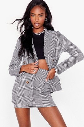 Nasty Gal Womens We Houndstooth Love Double Breasted Blazer - Black - 6