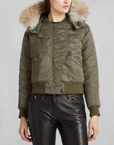 Belstaff Bovet Down Bomber With Fur Pine Green