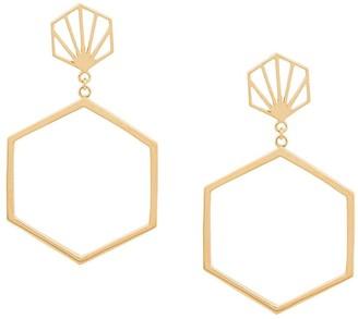 Rachel Jackson Hexagonal drop earrings