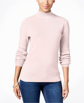 Karen Scott Ribbed Mock-Neck Sweater, Only at Macy's