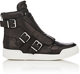 Balmain Men's Moto-Detail Leather High-Top Sneakers-BLACK
