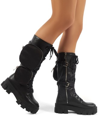 Public Desire Uk Gilda PU Lace Up Pouch Detail Chunky Knee High Boots