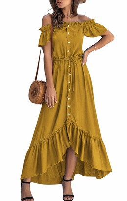 Vinlari Women Casual Dress Short Sleeve Boat Neck Irregular Backless Button Ruffle Vintage Date Party Long Dress Yellow