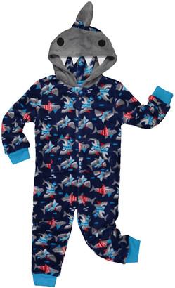 Only Boys Boys' Footies CONVERCHAR - Gray & Navy Shark Hooded Sleepwear - Toddler