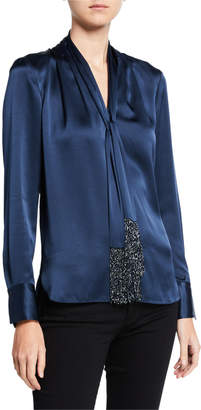 Elie Tahari Kendal Tie-Neck Long-Sleeve Silk Satin Blouse