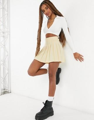 Bershka pleated mini tennis skirt co-ord in yellow