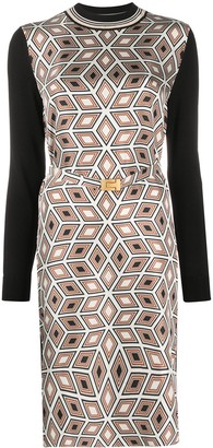 Tory Burch Geometric Print Long-Sleeve Dress
