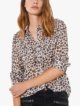 Mint Velvet Charlie Leopard Print Blouse, Multi
