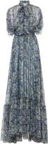 Luisa Beccaria Pussy-Bow Floral-Print Silk-Chiffon Maxi Dress