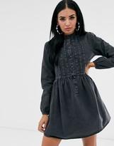 Asos Design DESIGN denim pintuck smock shirt dress
