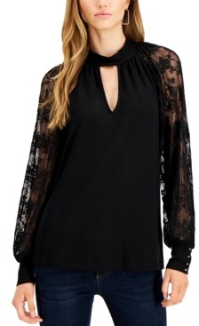 Fever Lace-Sleeve Keyhole Top