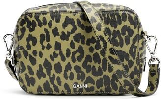 Ganni Leopard Print Leather Camera Bag