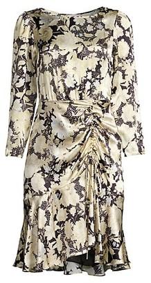 Rebecca Taylor Floral Silk Flounce Dress