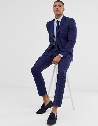 Selected slim suit trouser in navy window check