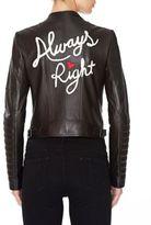 """Alice + Olivia Gamma Embellished """"Always Right"""" Moto Leather Jacket"""