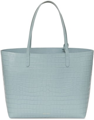 Mansur Gavriel Croc Embossed Large Tote - Light Blue