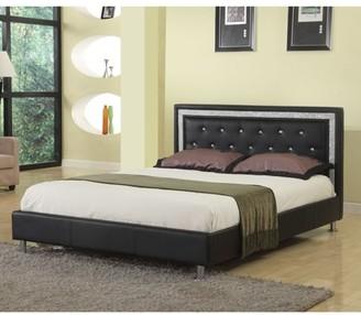 Best Master Furniture Queen Upholstered Platform Bed, Faux Leather.