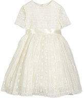 Oscar de la Renta Dawn Short-Sleeve Lace Dress, Ivory, Size 2-14