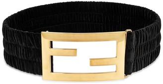 Fendi FF Black Velvet Waist Belt