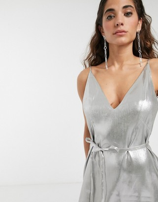 ASOS metallic strappy belted mini dress