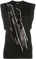 DSQUARED2 Tiger Flash sequinned sleeveless top - women - Cotton/Polyester - XS