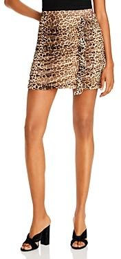 Aqua Ruched Leopard Print Skirt - 100% Exclusive