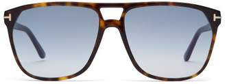 Tom Ford Shelton Tortoiseshell Aviator Sunglasses - Mens - Tortoiseshell