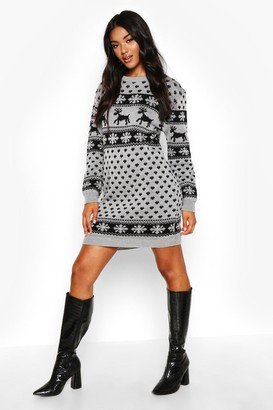 boohoo Reindeers And Snowflake Christmas Jumper Dress