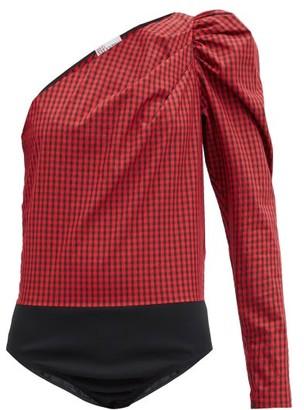 RED Valentino One-shoulder Gingham Cotton-blend Bodysuit - Black Red