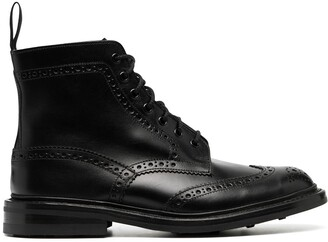 Tricker's Brogue-Detail Ankle Boots