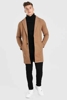 boohoo Mens Beige Summer Wool Look Overcoat, Beige