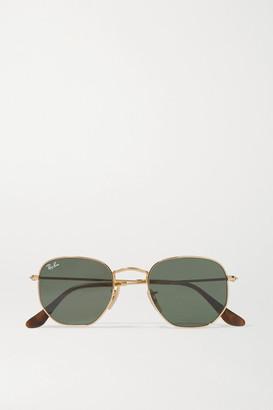 Ray-Ban Hexagon-frame Gold-tone Sunglasses