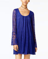 Sequin Hearts Juniors' Bell-Sleeve Lace Shift Dress