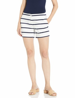 Nautica Women's Hint of Vocation Tailored Stretch Cotton Patterned Short Bright White 2