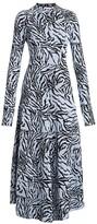Proenza Schouler Long-Sleeve Animal-Print Midi Dress