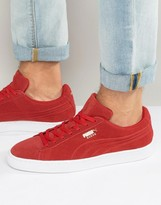 Puma Suede Debossed Trainers In Red 36109703