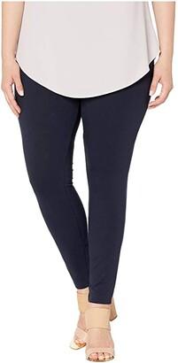 Hue Plus Size Wide Waistband Blackout Cotton Leggings (Black) Women's Casual Pants