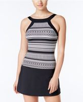 Jag Geometric-Print High-Neck Swimdress
