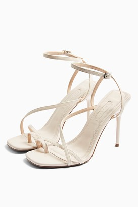 Topshop Womens Rise Ecru Strappy Heels - Off White
