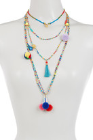 Cara Accessories Multi Layer Seed Bead, Pompom, Tassel, & Bird Necklace