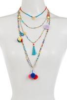 Cara Accessories Multi Layer Seed Bead, Pompom, Tassel, & Bird Necklace